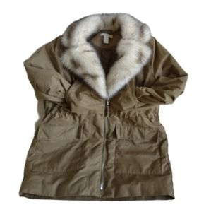 H&M Utility Jacket Cargo 12 Fur Collar Barn Coat